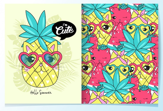 Hand drawn cute pineapple pattern set