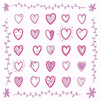 Набор рисованной милые розовые сердца вектор