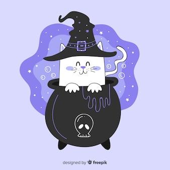 Hand drawn of cute playfull halloween cat