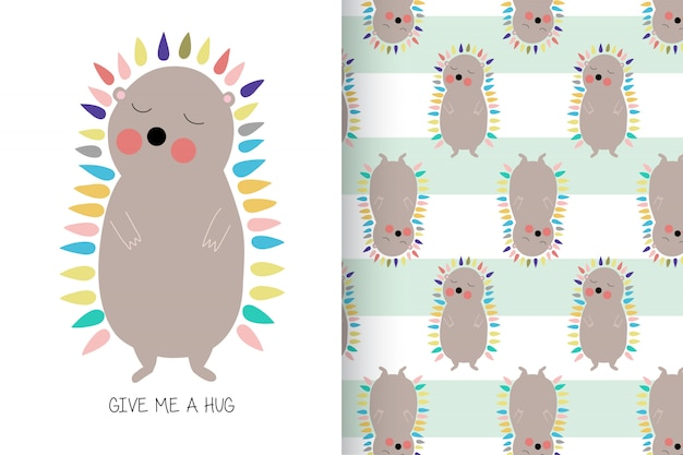 Hand drawn cute porcupine with pattern set
