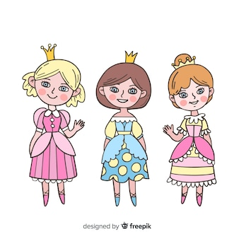 Hand drawn cute princess collection