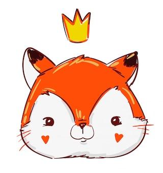 Hand drawn cute princess fox in crown.