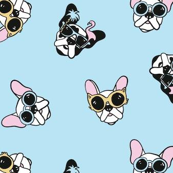 Hand drawn cute pug pattern