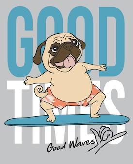Hand drawn cute pug surfing