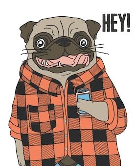 Hand drawn cute pug vector design for t shirt printing