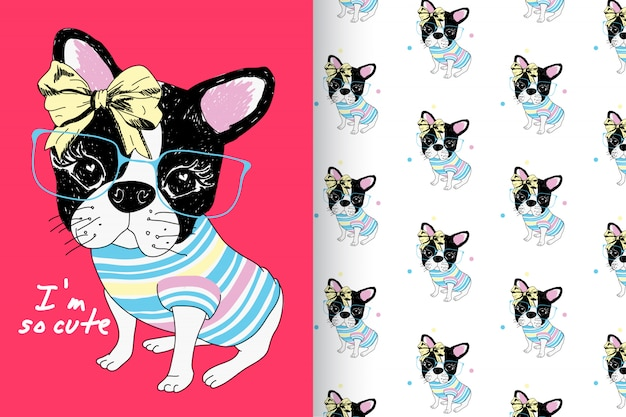 Hand drawn cute pug with pattern vector set