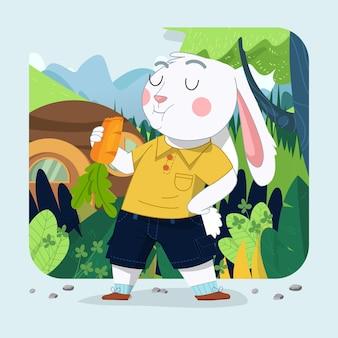 緑の森の背景とニンジンを食べる手描きのかわいいウサギの少年