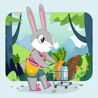 Нарисованная рукой милая девушка-кролик, покупка продуктов с фоном зеленого леса