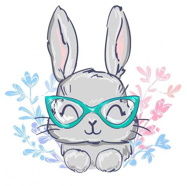 Hand drawn cute rabbit in glasses.