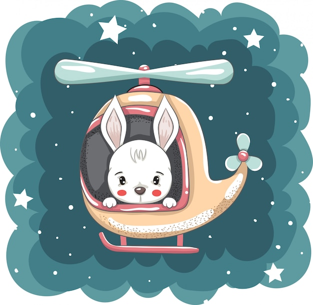 Hand drawn cute rabbit on helicopter vector