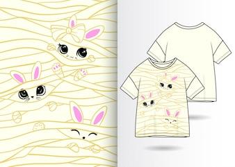 手描きのかわいいウサギのイラスト、Tシャツデザイン