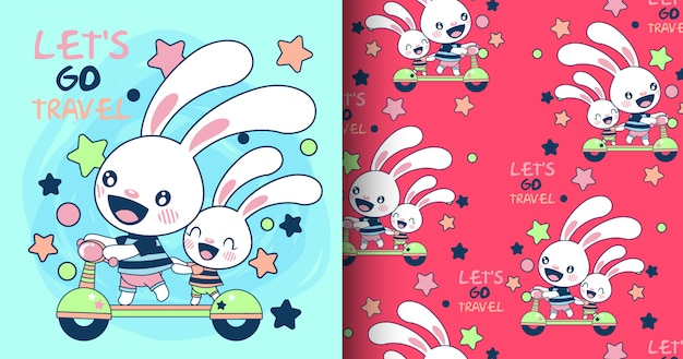 Hand drawn cute rabbit pattern and card