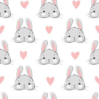 Hand drawn cute rabbit pattern seamless.