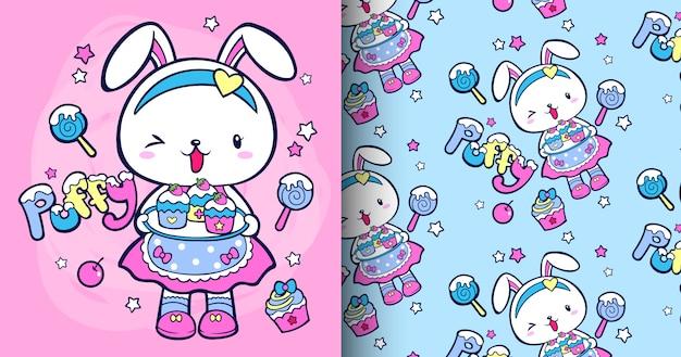 Hand drawn cute rabbit pattern set