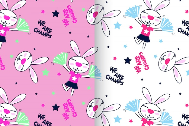 Hand drawn cute rabbit pattern vector set