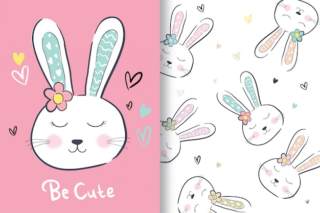 Hand drawn a cute rabbit with editable pattern