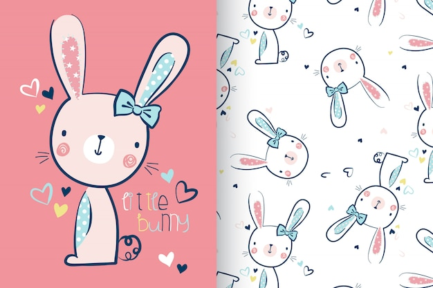 Hand drawn cute rabbit with pattern set