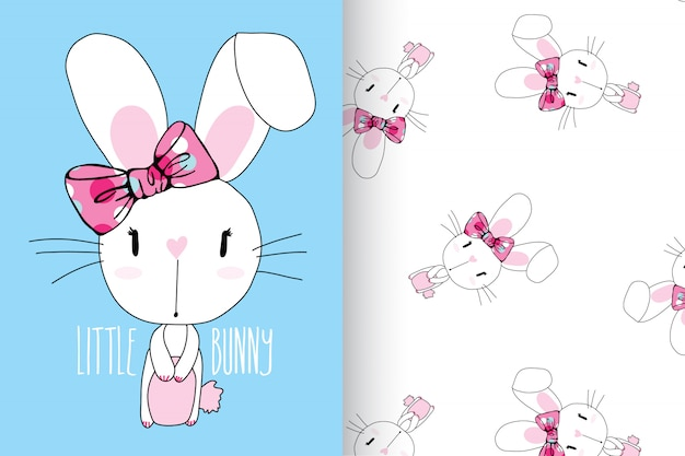 Hand drawn cute rabbit with pattern vector set