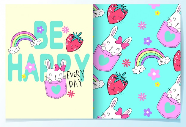 Hand drawn cute rabbit with typography pattern set