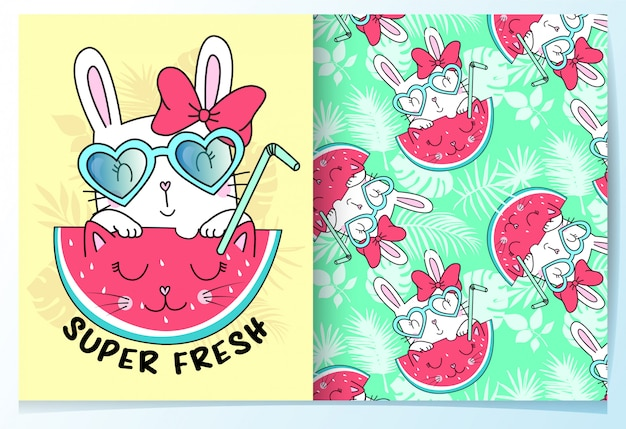 Hand drawn cute rabbit with watermelon pattern set