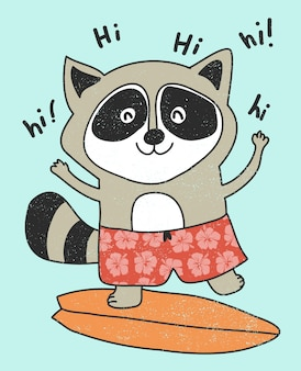Hand drawn cute raccoon surfing