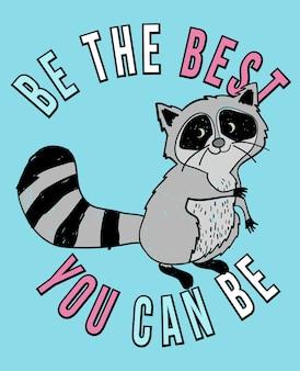 Hand drawn cute raccoon vector design for t shirt printing