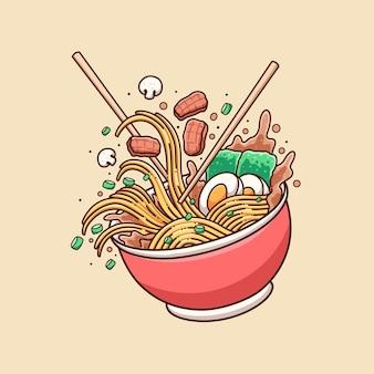 Hand drawn cute ramen noodle illustration design vector