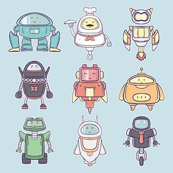 Нарисованная рукой милая иллюстрация собрания персонажа из мультфильма робота
