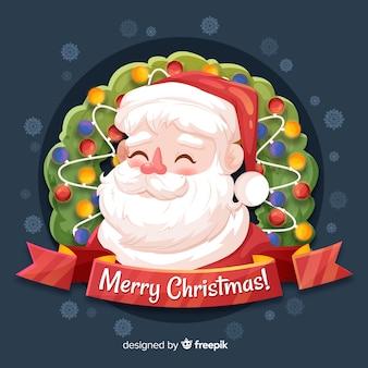 Hand drawn cute santa claus background