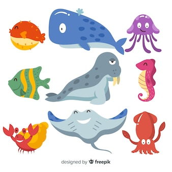 Hand drawn cute sea animals collection