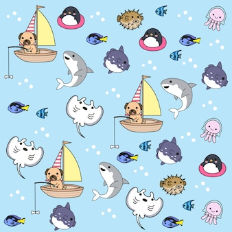 Hand drawn cute sea animals with pattern vector set