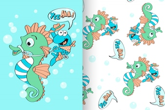 Hand drawn cute sea horse with pattern vector set