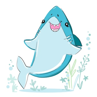 Hand drawn cute shark illustration. sketch fish sea. childish print design for fabric, t-shirts, poster, background.