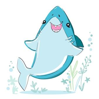 手描きのかわいいサメのイラスト。魚の海をスケッチします。生地、tシャツ、ポスター、背景の幼稚なプリントデザイン。