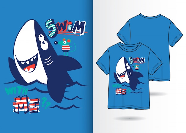 Hand drawn cute shark illustration with t shirt design