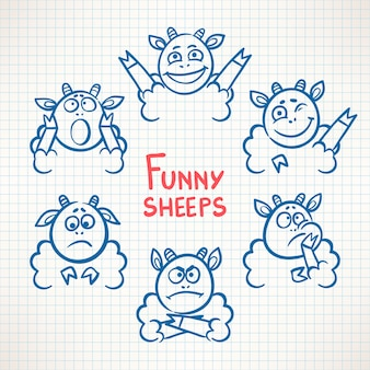さまざまな感情を持つ手描きのかわいい羊の顔