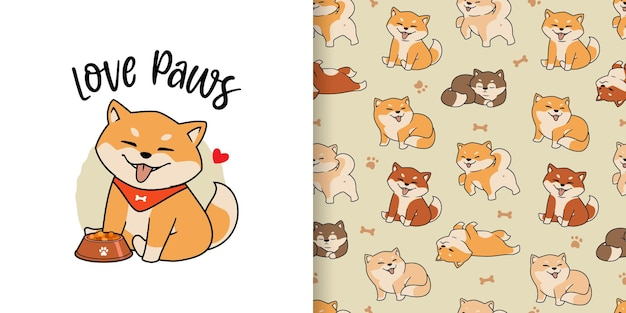 Hand drawn cute shiba inu dogs seamless pattern.