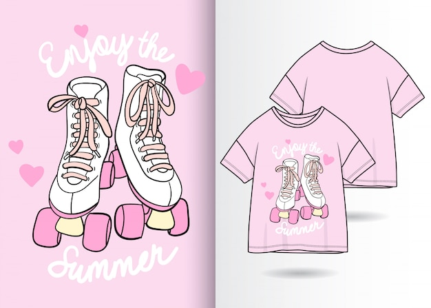 Hand drawn cute shoes illustration with t shirt design