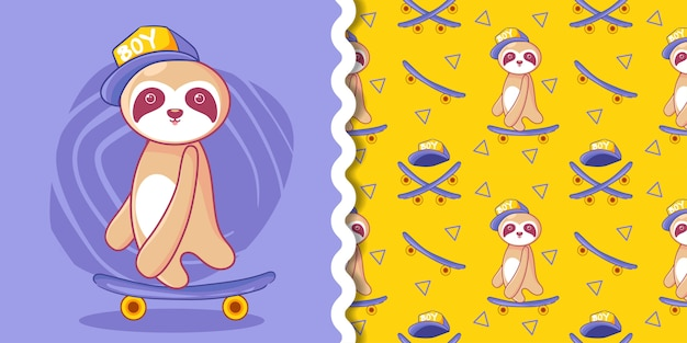 Hand drawn cute skateboard sloth with pattern set