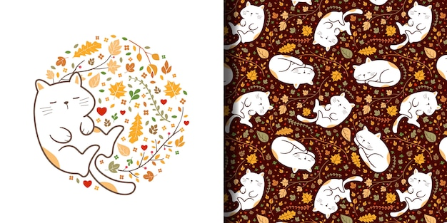 Hand drawn cute sleeping cats seamless pattern