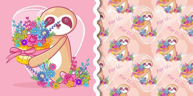 손으로 그린 귀여운 나무 늘보와 꽃 패턴 세트
