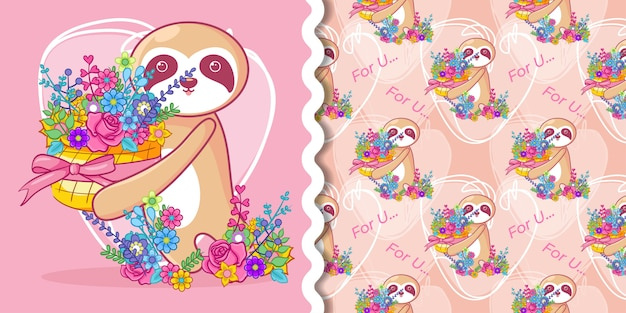 Hand drawn cute sloth and flowers with pattern set