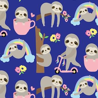 Hand drawn cute sloth pattern background