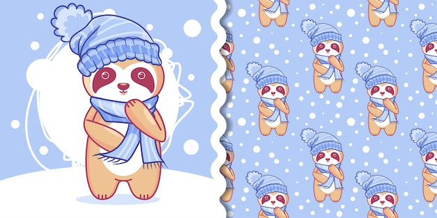 Hand drawn cute sloth in winter with pattern set