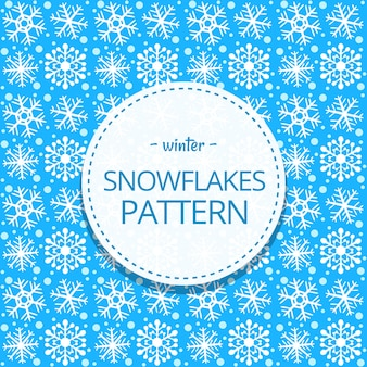 Hand drawn cute snow flake winter seamless pattern