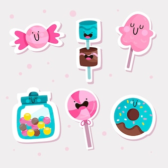 Hand drawn cute sticker collection