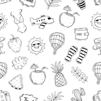 Hand drawn cute summer illustration in seamless pattern