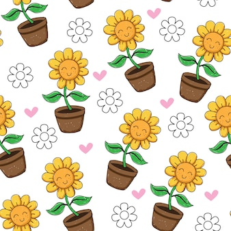 Hand drawn cute sunflower seamless pattern