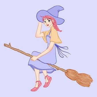 ほうきの漫画のキャラクターと一緒に飛んでいる手描きのかわいい十代の少女の魔女