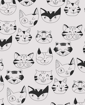 Hand drawn cute tiger pattern